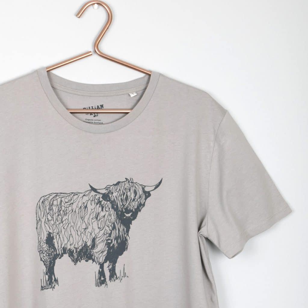 Gillian Kyle Scottish Clothing Scottish Highland Cow Mens Tee Shirt Grey