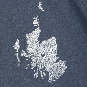 Mapped Out Scottish Map t-shirt by Gillian Kyle - print detail