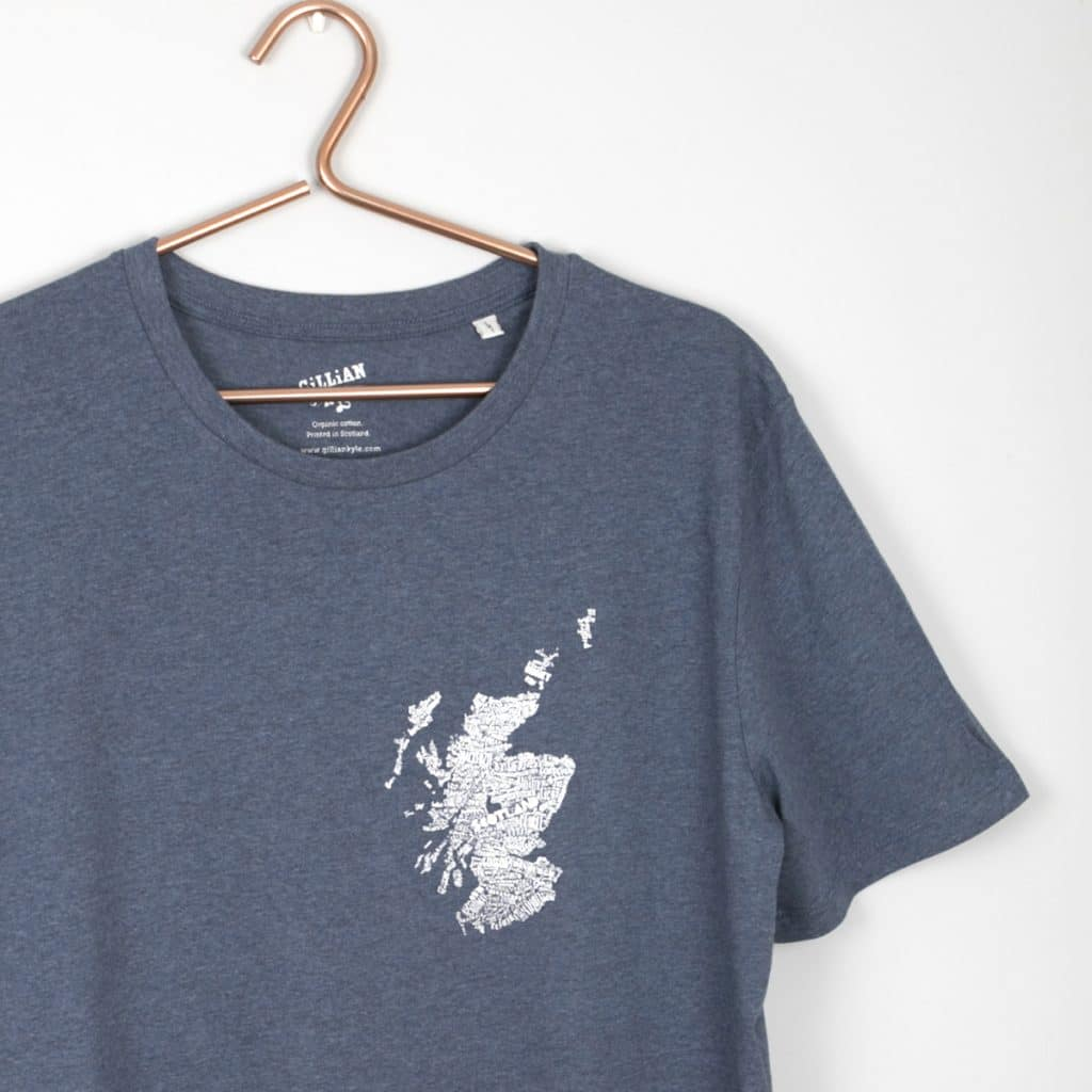 3ba9f4e79f5e4 Gillian Kyle Scottish Clothing Mapped Out Mens Tee Shirt Dark Blue