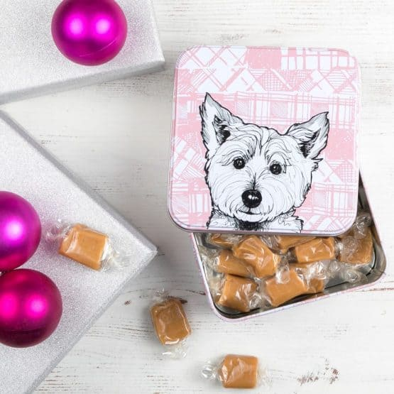 Tin with cute Scottish West Highland Terrier print filled with delicious Scottish fudge by Gillian Kyle