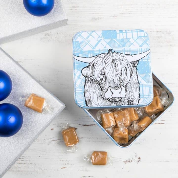 Tin with Highland Cow print filled with delicious Scottish fudge by Gillian Kyle