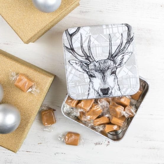 Tin with Stag print filled with delicious Scottish fudge by Gillian Kyle