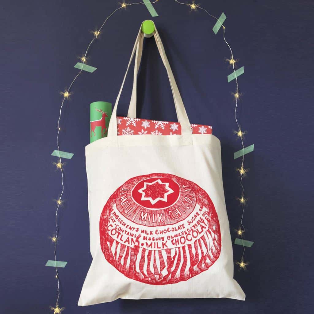 Cotton shopper with Tunnock's Teacake print