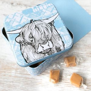 Fudge tin with highland cow by gillian Kyle