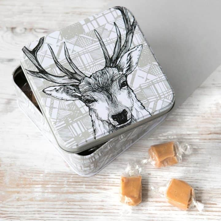 fudge tin with scottish stag by gillian kyle
