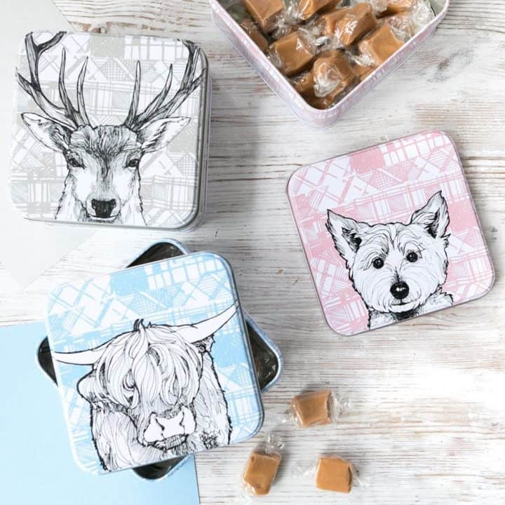 fudge tin with scottish animals by gillian kyle