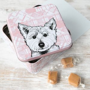 fudge tin with scottish westie by gillian kyle