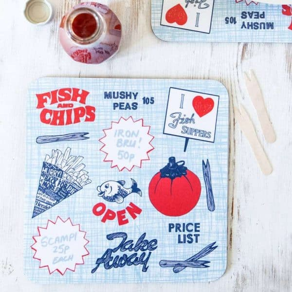 Retro Fish n Chips Placemats by Gillian Kyle