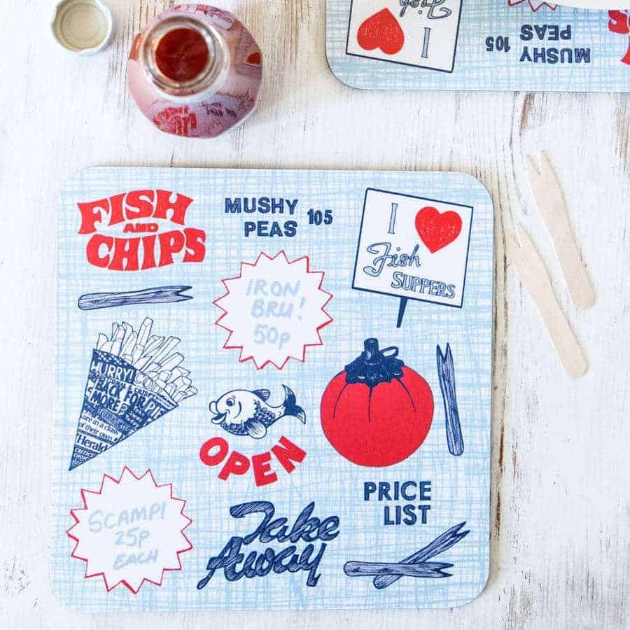 Gillian Kyle, Fish-n-Chips placemats, Set of 2, Retro, Tomato-Ketchup