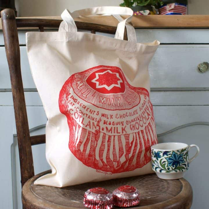 cotton shopper with Tunnock's Teacake design by gillian Kyle