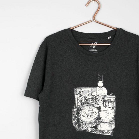 Gillian Kyle, Scottish clothing, Scottish men's clothng, Scottish unisex clothing, Scottish men's t-shirt, Scottish unisex t-shirt, dark grey t-shirt, Scottish irn bru print