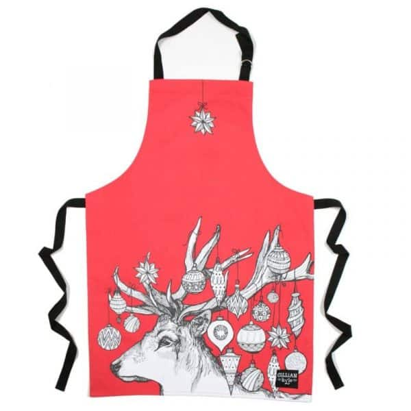 Gillian Kyle Red Christmas Apron with Scottish Stag