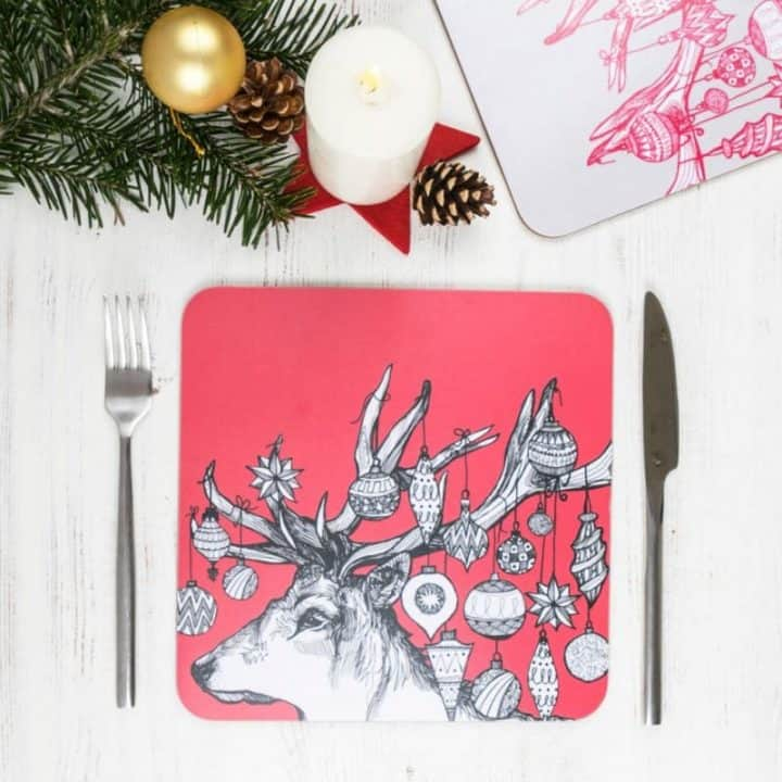 Gillian Kyle red Christmas placemats, set of 2 with Scottish Stag