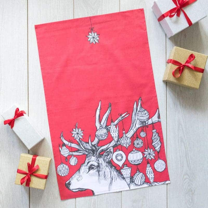 Red Christmas Tea Towel with Scottish Stag