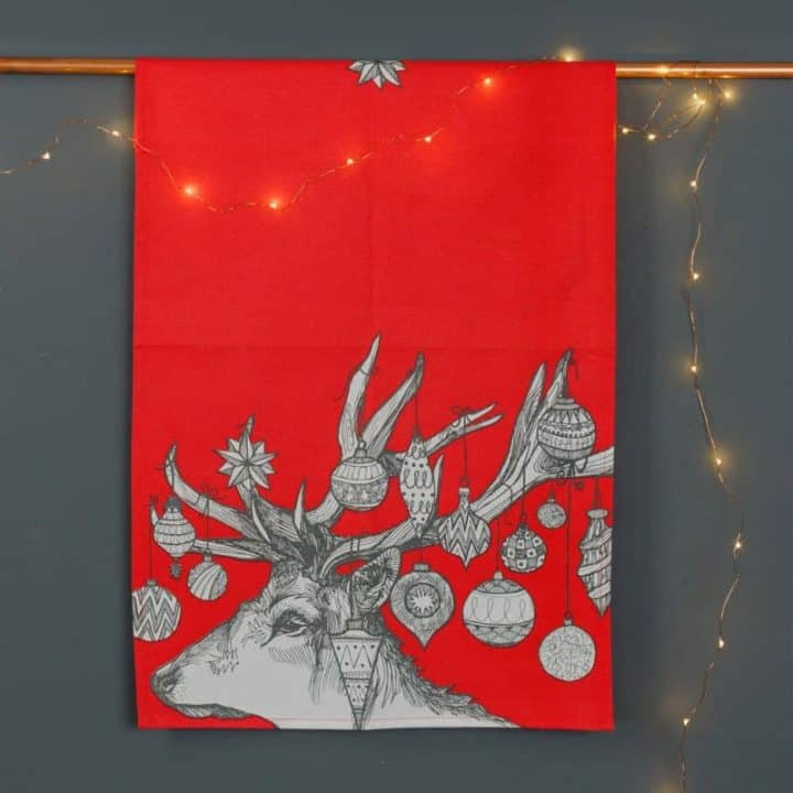 Gillian Kyle, Scottish tea towel, Kitchen tea towel, textiles, stag, christmas print