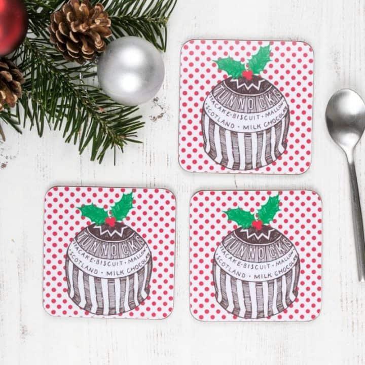 Gillian Kyle Tunnock's Teacake Christmas Pudding Coasters