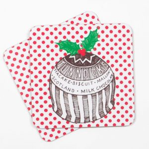 Gillian Kyle Tunnock's Teacake Christmas Pudding Placemats, Set of 2, Tunnock's