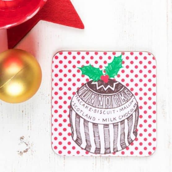 Gillian Kyle Tunnock's Teacake Christmas Pudding Placemats, Set of 2, Tunnock's