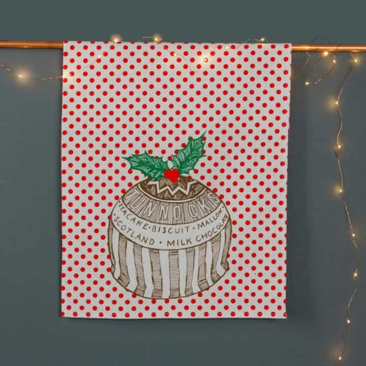 Gillian Kyle, Scottish tea towel, Scottish breakfast textiles, Scottish Tunnock's teakcake, christmas pudding print