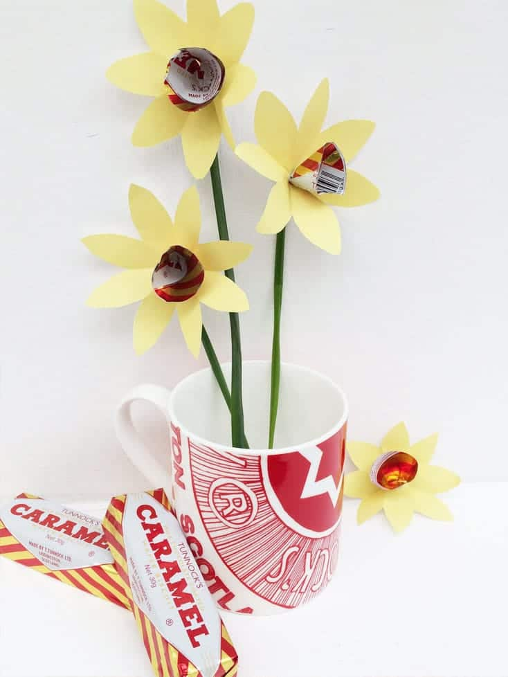 Tunnocks Caramel wrapper paper daffodils by Gillian Kyle