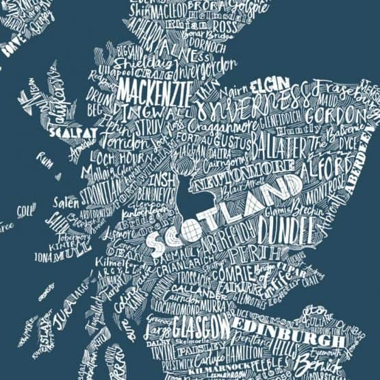 hand drawn Scottish map print by Gillian Kyle