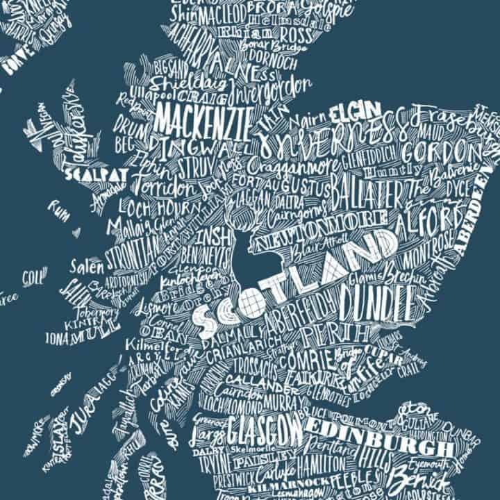 hand drawn Scottish map print by Gillian Kyle
