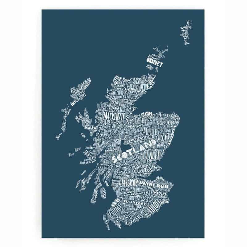 Gillian Kyle Scottish Wall Art Mapped Out Scotland Map ...