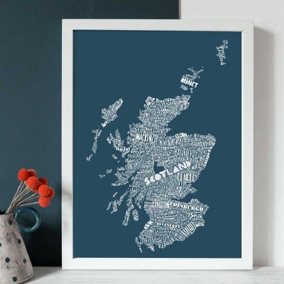 Gillian Kyle Scottish Art and Prints, Mapped Out Illustrated Scottish Map print in petrol blue