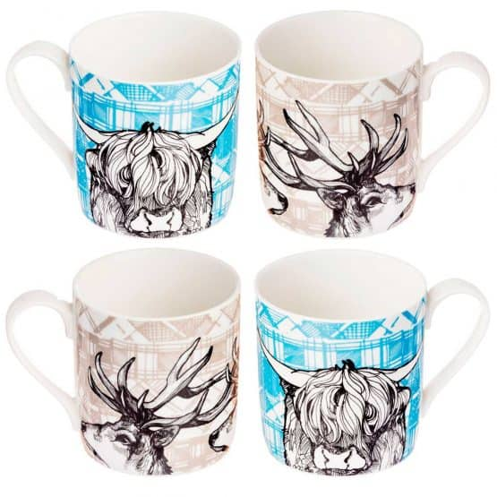 Gillian Kyle Scottish Mugs and Cups, Tartan Animals Mug Collection with Scottish Tartan Stag and Scottish Highland Cow and Cattle mugs