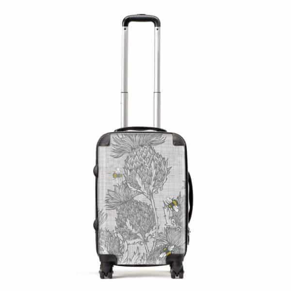 designer Gillian Kyle luggage in scottish thistle design