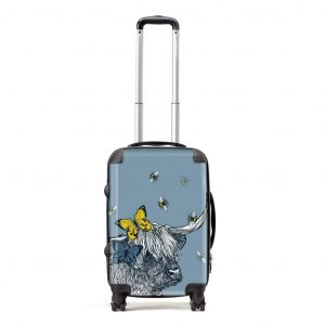 Gillian Kyle suitcase in Lola Highland Cow design