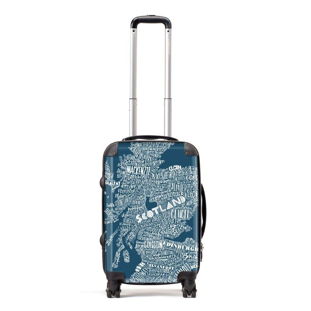 carry-on hand luggage suitcase with Scottish map design from Gillian Kyle