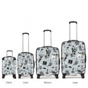 Size options for Love Scotland Scottish pattern suitcases by Gillian Kyle