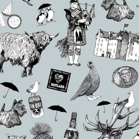 Love Scotland suitcase print detail - Gillian Kyle