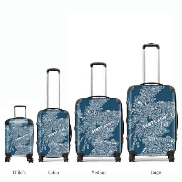 Scottish map suitcases by Gillian Kyle in various sizes