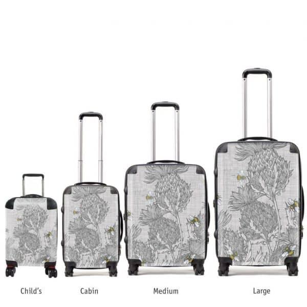 designer luggage various sizes in Scottish Thistle design by Gillian Kyle