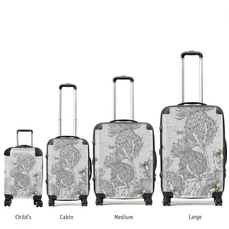 designer luggage various sizes in Scottish Thistle design by Gillian Kyle