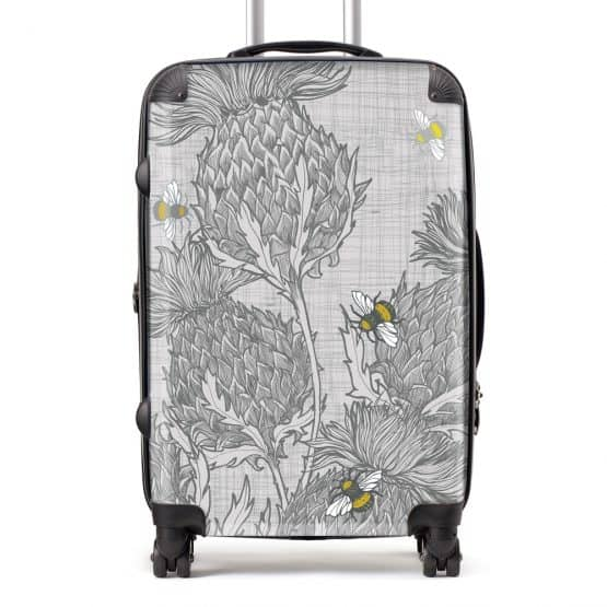 Scottish Thistle Suitcase in grey by Scottish artist Gillian Kyle