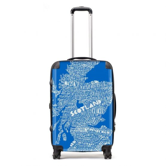 Scottish suitcase in blue typographic map design by Gillian Kyle