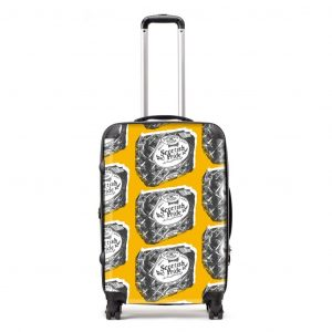 Scottish suitcase in Scottish Pride mustard design by Gillian Kyle