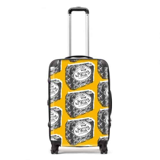 Scottish suitcase in Scottish Pride mustard design by Gillian Kyle