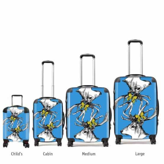 Scottish stag art suitcases in sky blue by Gillian Kyle