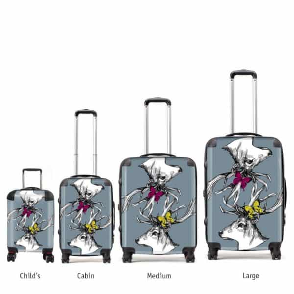 scottish stag art suitcases by Gillian Kyle