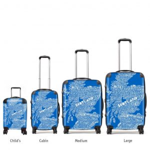 Scottish suitcases in various sizes with blue typographic map design by Gillian Kyle