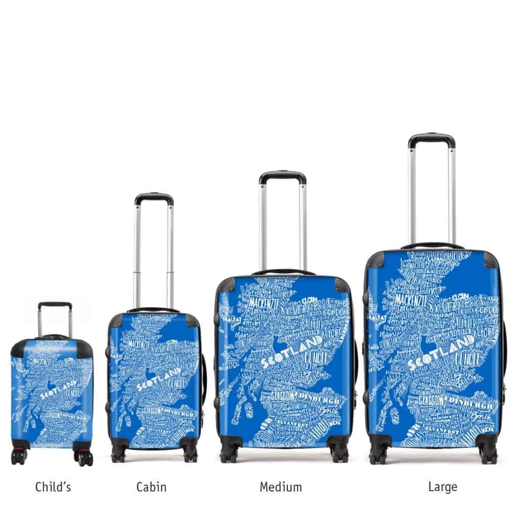 Hardback lightweight suitcase with mapped out scotland map saltire blue scottish suitcases in various sizes with blue typographic map design by gillian kyle gumiabroncs Gallery