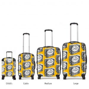 Scottish suitcases various sizes in Scottish Pride mustard design by Gillian Kyle