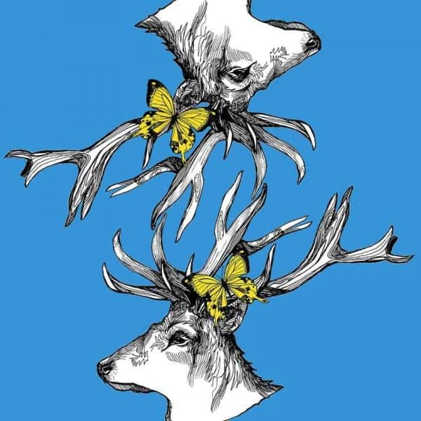 Scottish Stag Reflection Print design in sky blue for suitcases by Gillian Kyle