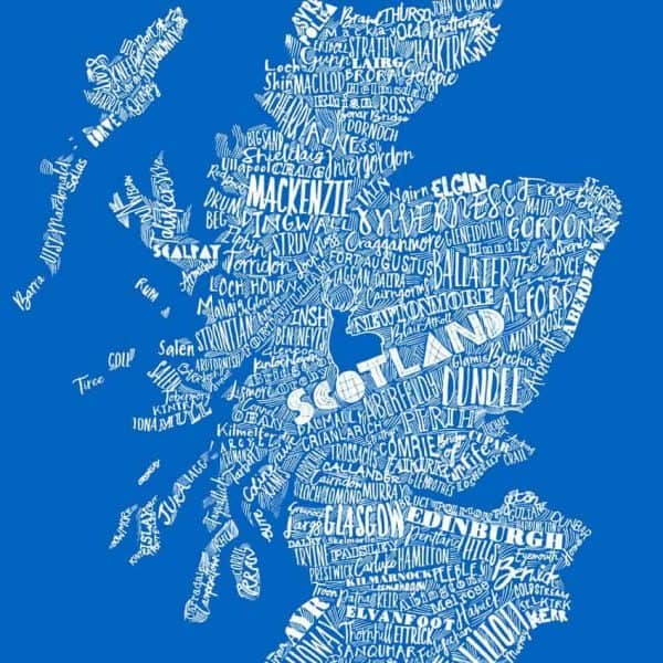 saltire blue typographic scottish map print design for suitcases by Gillian Kyle