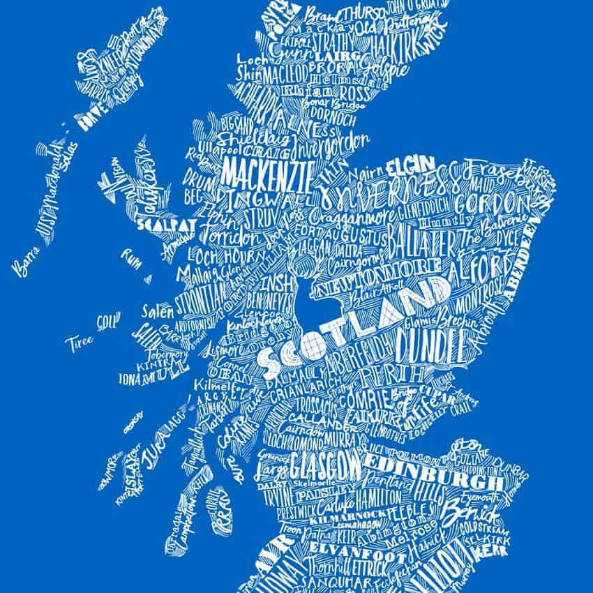 Hardback lightweight suitcase with mapped out scotland map saltire blue saltire blue typographic scottish map print design for suitcases by gillian kyle gumiabroncs Gallery