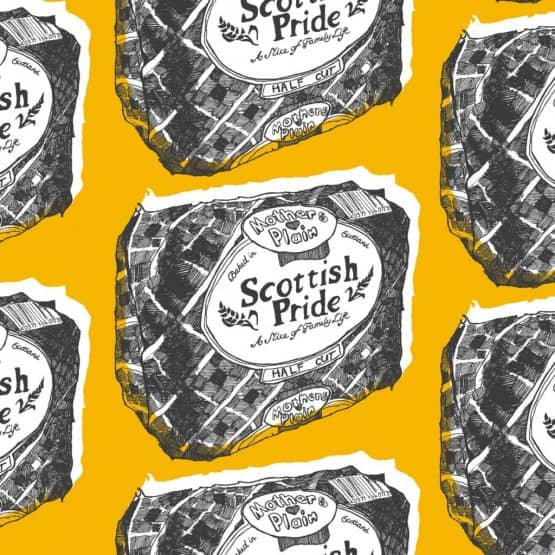 Scottish suitcase Scottish Pride design in mustard by Gillian Kyle